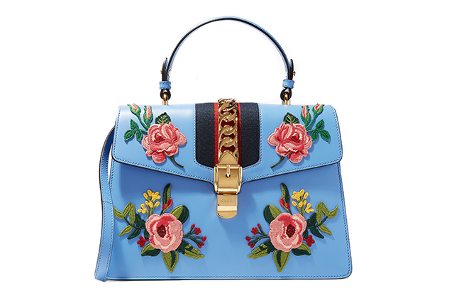 Gucci Blue Sylvie Embroidered Leather Top Handle Bag on Ounass.com, Dhs12,600