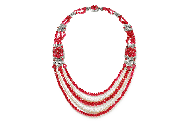 Cartier Indian style necklace with 76 pearls