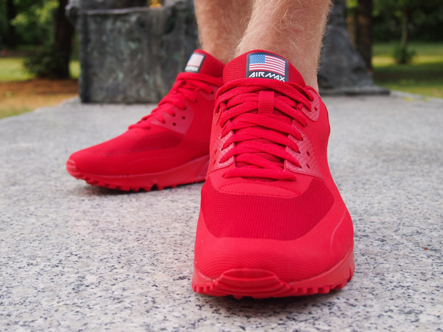 nike air max 90 all red on feet