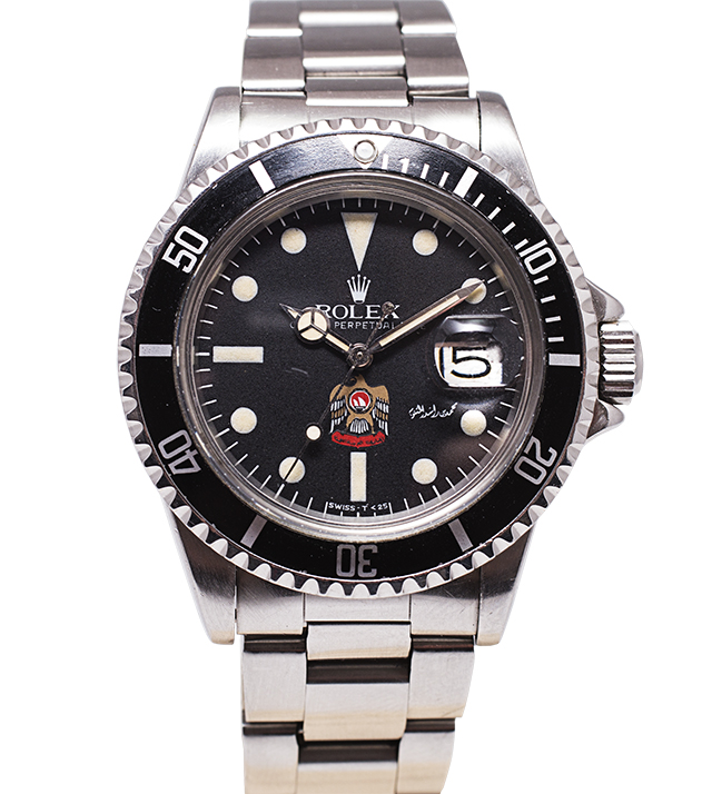 770-774 Vintage Rolex Submariner Reference 1680 of 1978 Stainless steel UAE Logo and Signature of His Highness Sheikh Mohammed Bin Rashid Al Maktoum on the dial Extremely rare, was never retailed but made on special request by His Highness Sheikh Mohammed