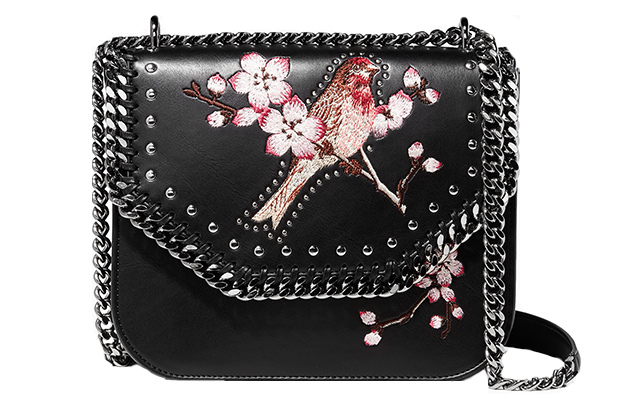 Stella McCartney Black Falabella Mini Embroidered Box Tote Bag on Ounass.com, Dhs4,250