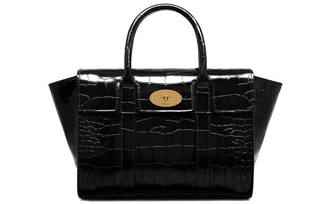Small Bayswater polished embossed croc in black, Dhs5,273