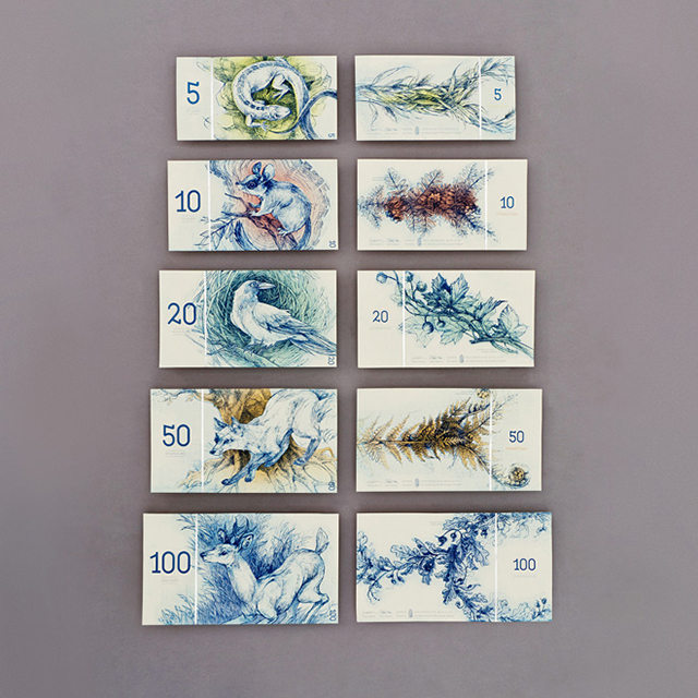 Beautifully designed Hungarian banknotes by Barbara Bernát