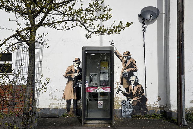 Banksy's 'Spy Booth' has received Grade II Listed status