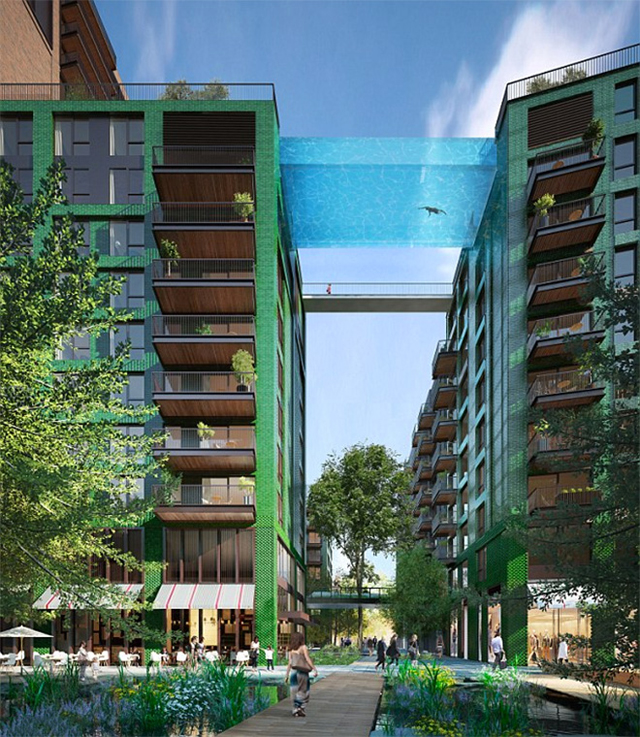 High dive: The glass-bottomed swimming pool set to join two towers in London