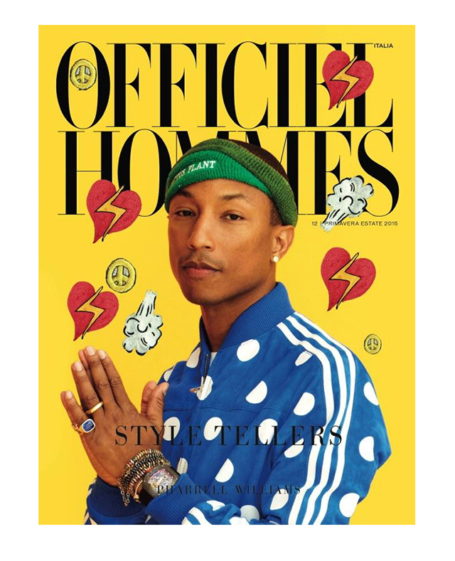 Pharrell Williams covers L'Officiel Hommes Italia showcasing new collaboration with Adidas