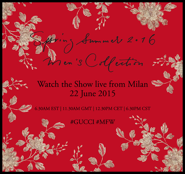 Watch live: The Gucci SS16 menswear show live from Milan