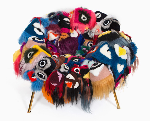 Fendi's furry 'bag bugs' have been made into a chair by the Campana Brothers