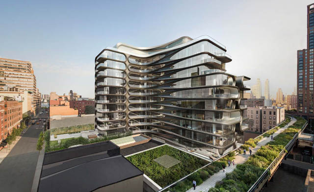 Zaha Hadid turns her NYC High Line condo hoarding into art installation