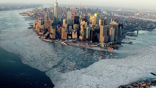 An incredible aerial photograph shows just how cold New York City is right now