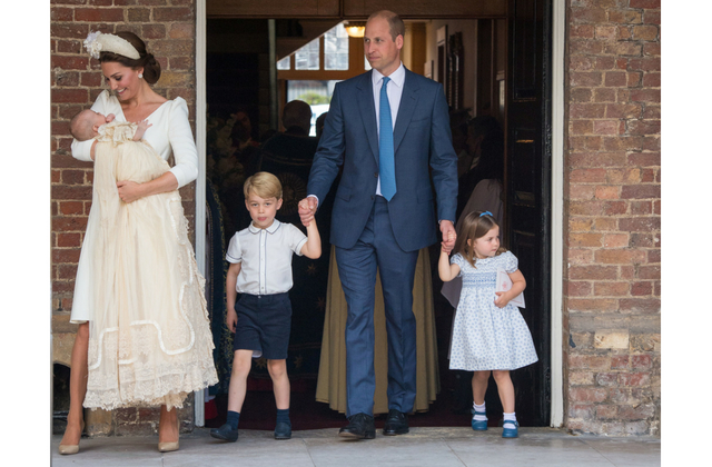 The British royal family gather for Prince Louis' christening