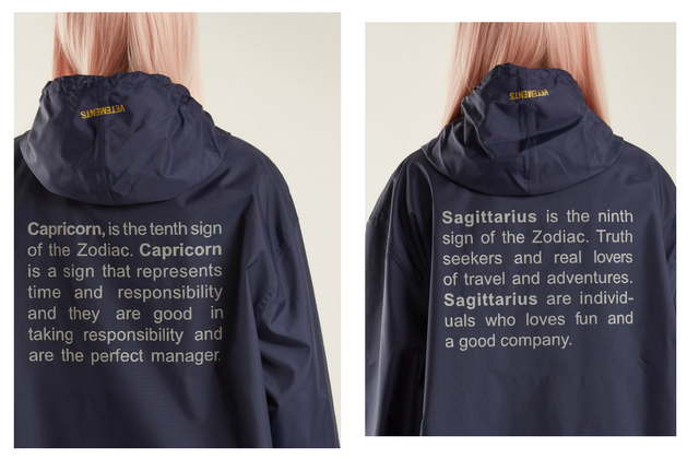 Vetements has just released a zodiac-inspired raincoat collection