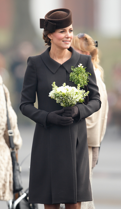 The Duchess of Cambridge marks St. Patricks Day in a chic all-brown ensemble