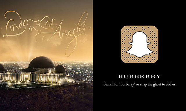 Burberry joins Snapchat for special event in Los Angeles