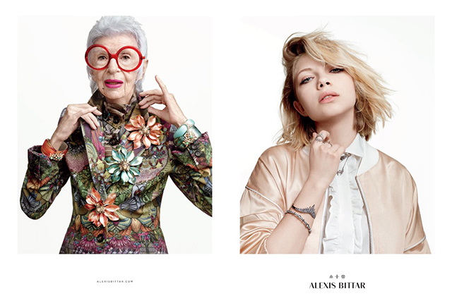 Iris Apfel and Tavi Gevinson pose side by side for Alexis Bittar's new campaign