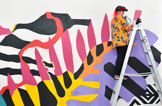 The W Hotel in Amman partnered up with regional street artist Dina Saadi on a new mural