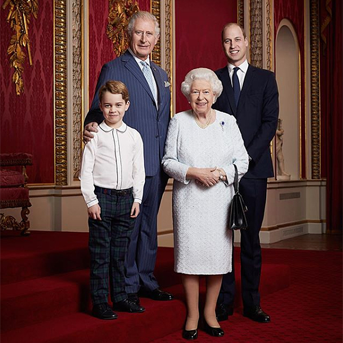 Queen Elizabeth gets photographed with the first three heirs to the throne