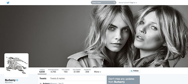 Burberry will offer the chance to buy cosmetics via Twitter during LFW