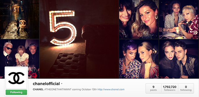 Chanel starts using its Instagram handle @ChanelOfficial