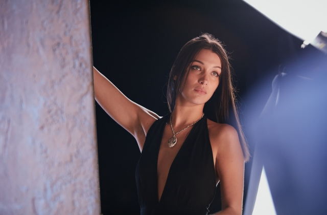 Behind the scenes of Bella Hadid's Goldea The Roman Night Absolute campaign for Bvlgari
