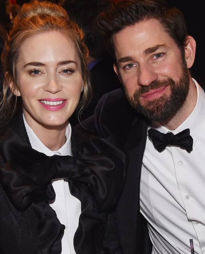Emily Blunt and John Krasinski wore matching suits to the Writers' Guild Awards