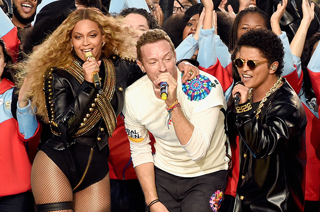 The 2016 Super Bowl with Beyonce, Coldplay and Bruno Mars