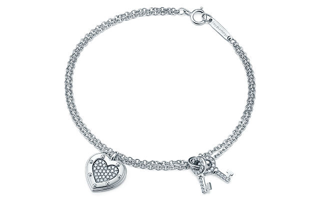 Return To Tiffany Love Tag Key bracelet silver and diamond