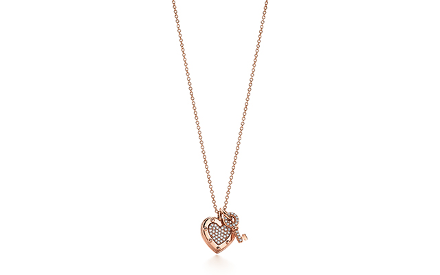 Return To Tiffany Love Tag Key pendant rose gold and diamond