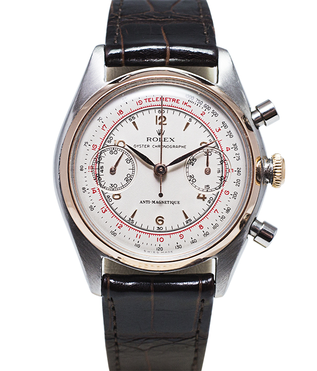 759-760-781 Vintage Rolex Chronograph Reference 4500 of 1946 Stainless steel and Rose Gold Launched during World War 2 as the first Oyster Chronograph Value: AED 180,000
