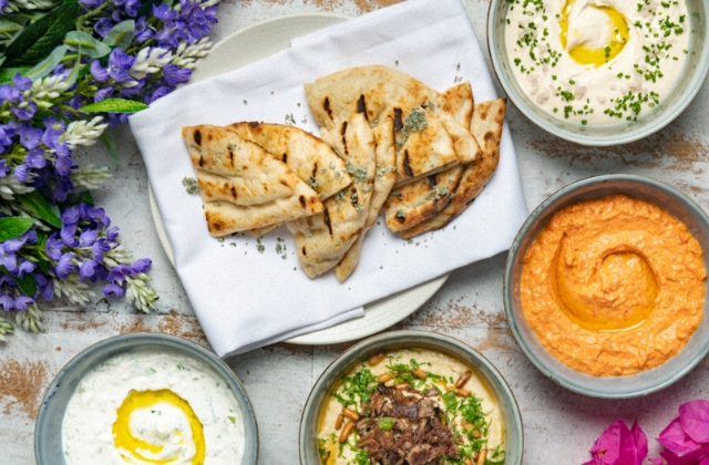 Dip Selection and Pita Bread