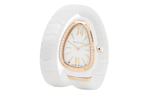 Bulgari Rose-Gold, White Ceramic & Diamond Serpenti Spiga Watch, Dhs39,500