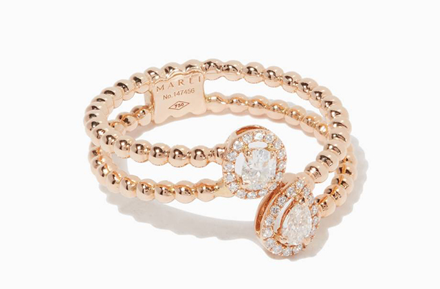 Marli Rose-Gold & Diamond Rock Candy Ring available at Ounass.com, Dhs8,500