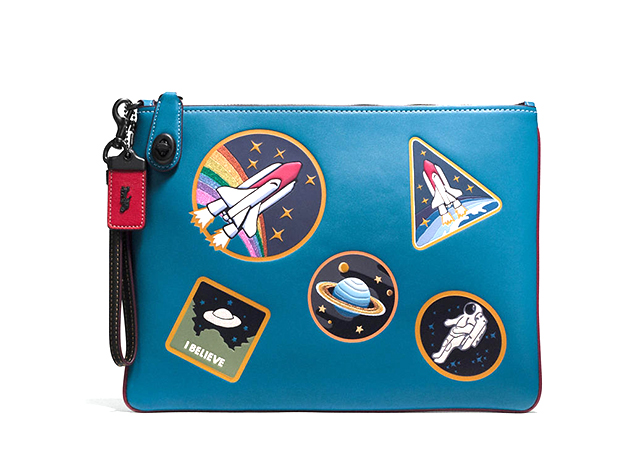 Turnlock wristlet in glovetanned leather and space patches
