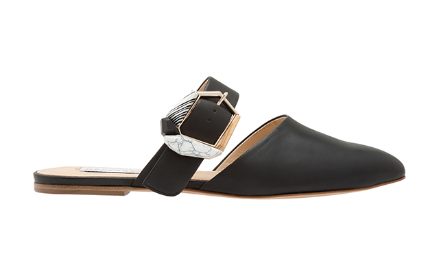 Savage Leather Flat Mules in Black, Dhs4,150