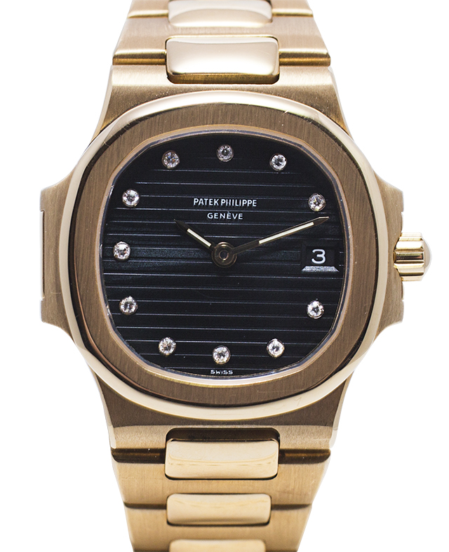 793 Patek Philippe Nautilus for Ladies from 1985 18K Gold with a black matte dial with diamonds Value: AED 65,000