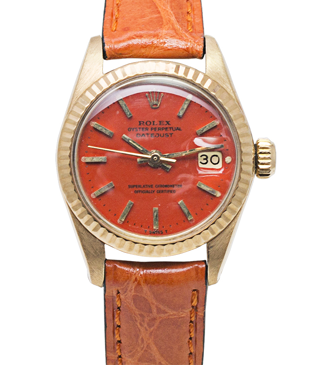 "Vintage Rolex Lady Datejust Reference 6917 of 1977 18K Gold Has an orange colored enamel dial, nicknamed ""Stella dial"""