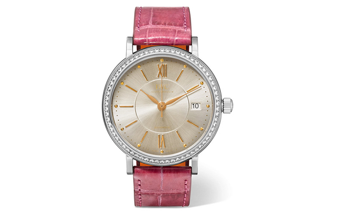 IWC Schaffhausen Portofino Automatic 37mm stainless steel, alligator and diamond watch, Dhs33,794