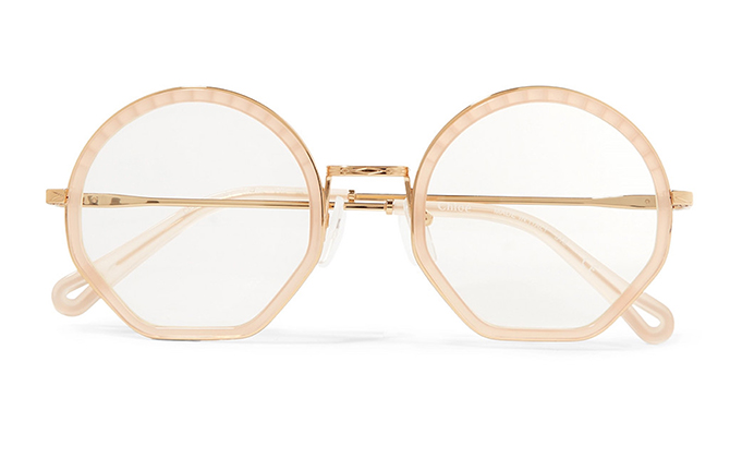 Chloé Octagon-frame gold-tone optical glasses available on Net-a-Porter, Dhs886