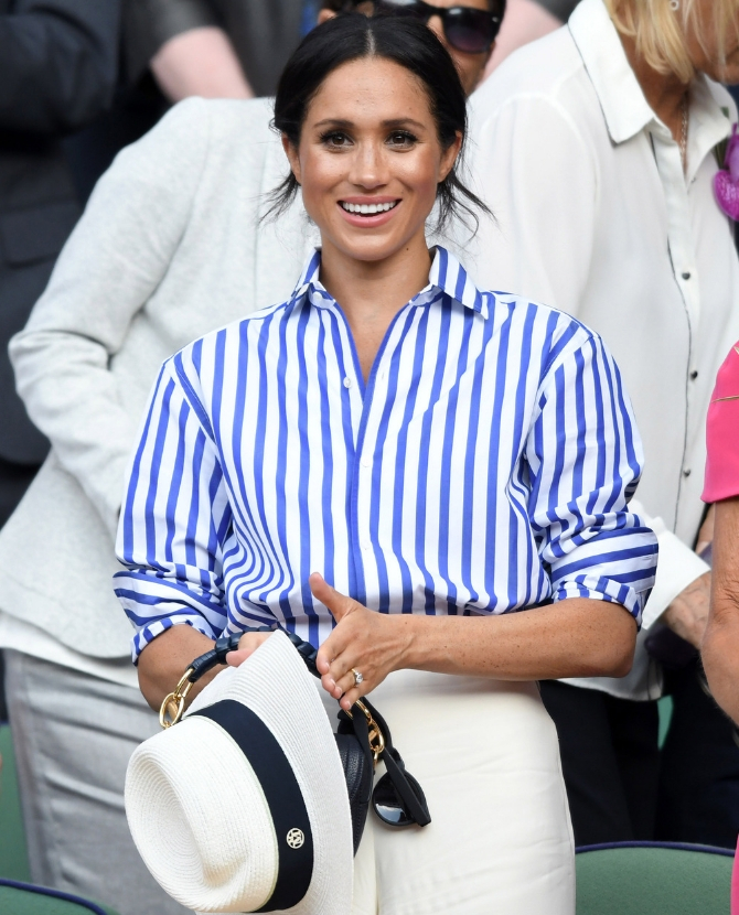 The Ralph Lauren striped blouse and white trousers at the Wimbledon Tennis Championships
