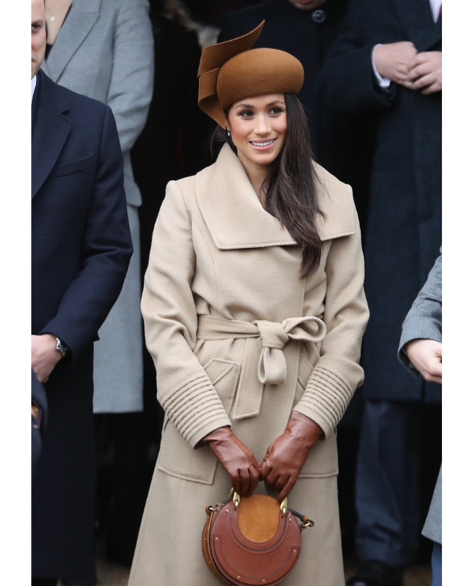 The beige Sentaler coat with a brown Chloé bag at the Christmas Day Church service at Church of St Mary Magdalene