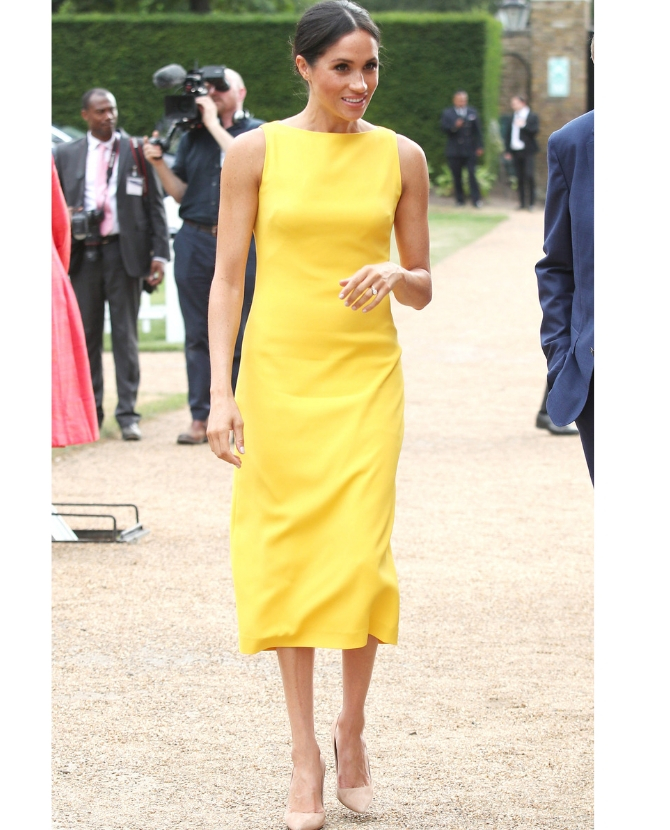 The yellow Brandon Maxwell dress worn at the Your Commonwealth Youth Challenge reception