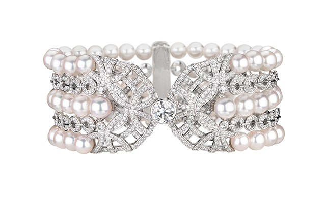 Secrets d'Orients Perles bracelet in white gold, cultured pearls and diamonds