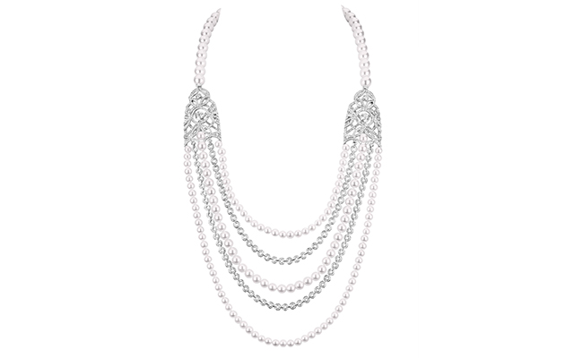 Secrets d'Orients Perles necklace in white gold, cultured pearls and diamonds