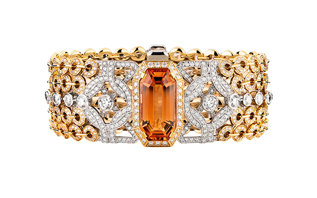 Secrets d'Orients Topaze bracelet in white gold, yellow gold, topaz and diamonds