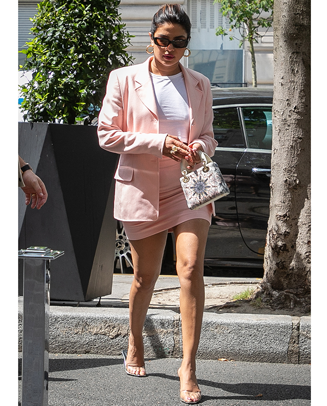 Priyanka Chopra wears a two-piece skirt suit in Paris