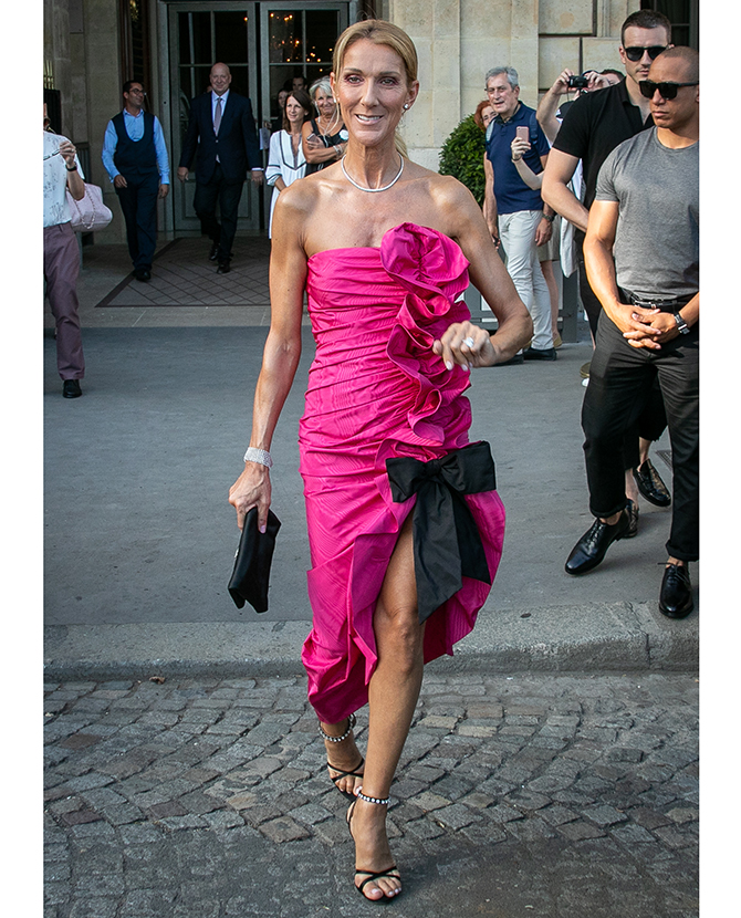 Celine Dion wears ruched, strapless fuchsia gown to the Miu Miu Cruise show in Paris