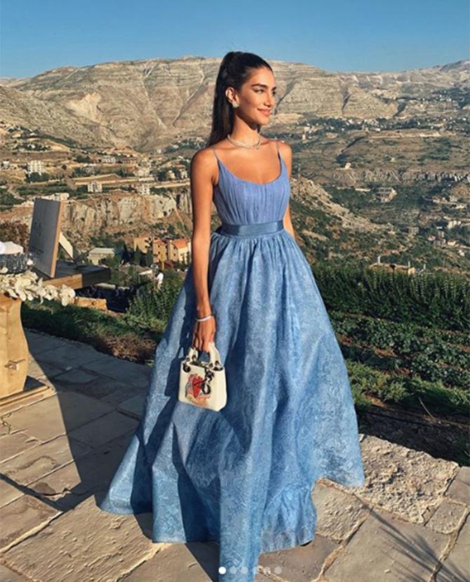 Jessica Kahawaty wears Sandy Nour to a wedding in Lebanon