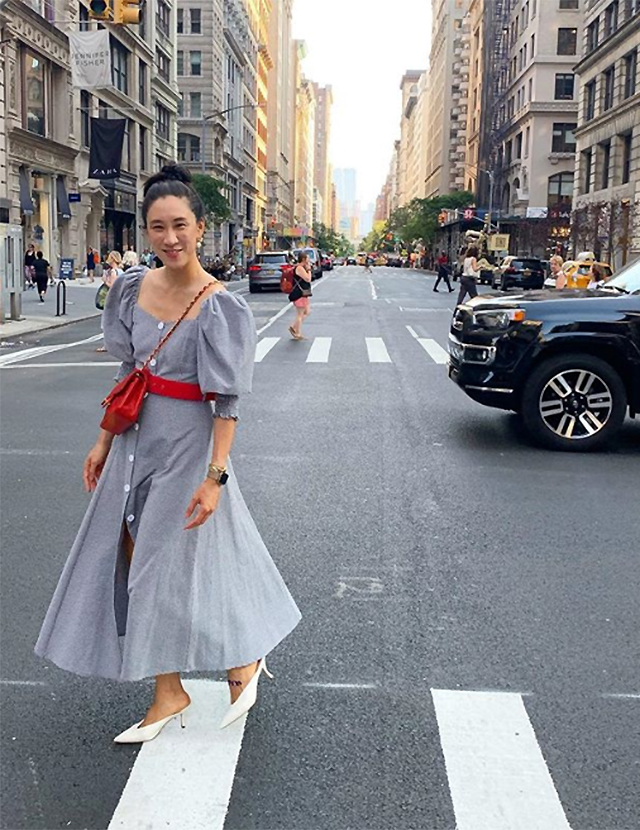Eva Chen dressed in N-Duo, Chanel and Stuart Weitzman whilst in New York