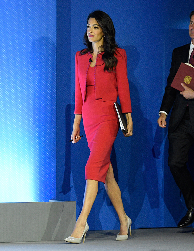 Amal Clooney dressed in Zac Posen Resort 2019  at the Global Conference on Press Freedom in London