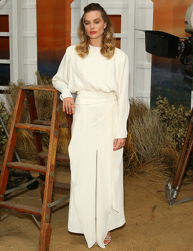 Margot Robbie dressed in Derek Lam FW19 dress to the 'Once Upon a Time in Hollywood' Photo Call in Los Angeles